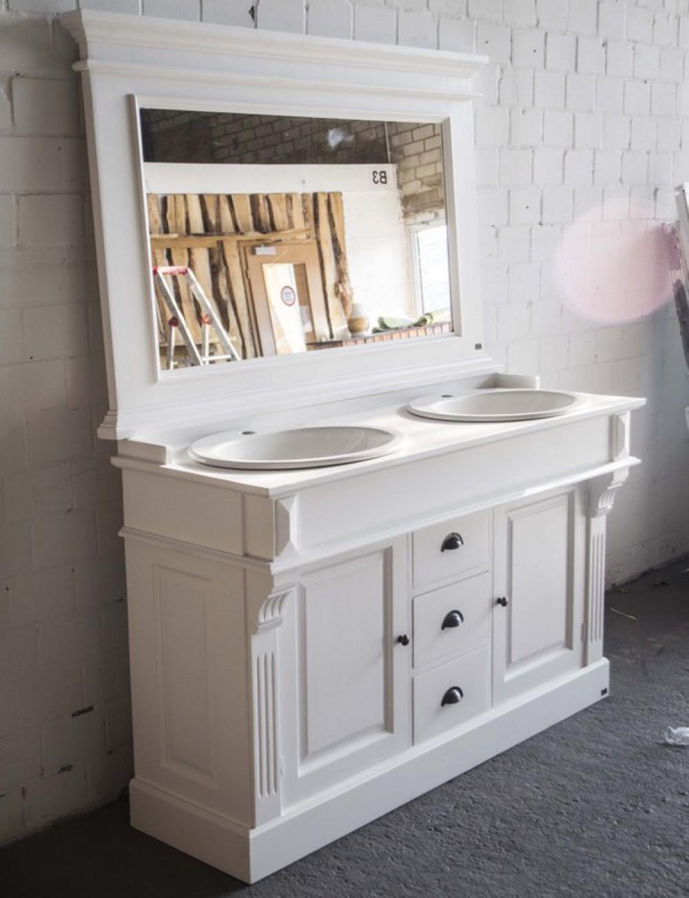 waschtisch wei massivholz doppelwaschtisch im landhausstil spiegel optional. Black Bedroom Furniture Sets. Home Design Ideas