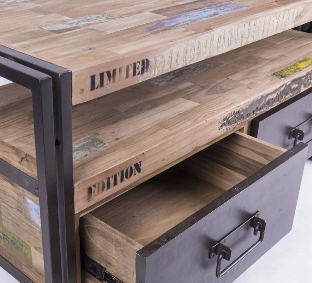 Fersehschrank tv lowboard aus massivholz im for Industriedesign mobel