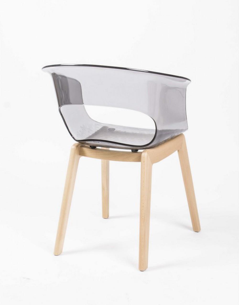 Design stuhl grau transparent stuhl mit armlehne for Design stuhl mit armlehne