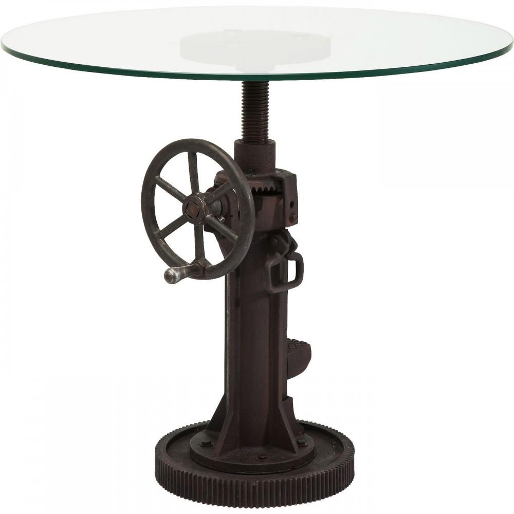 Tisch rund metall glas h henverstellbar esstisch metall for Esstisch glas rund 90 cm
