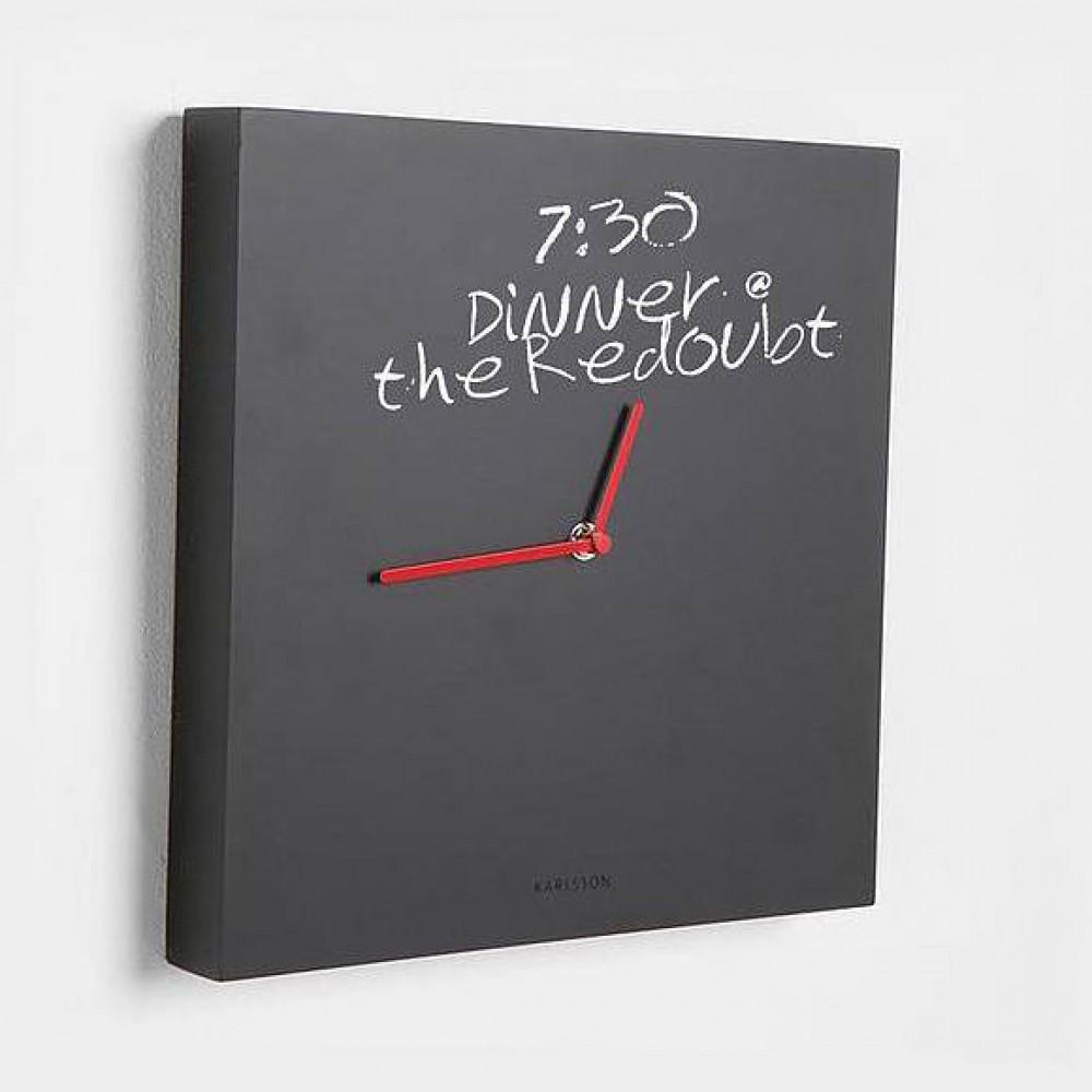 karlsson wanduhr tafel schwarz rot kreide 32 cm. Black Bedroom Furniture Sets. Home Design Ideas