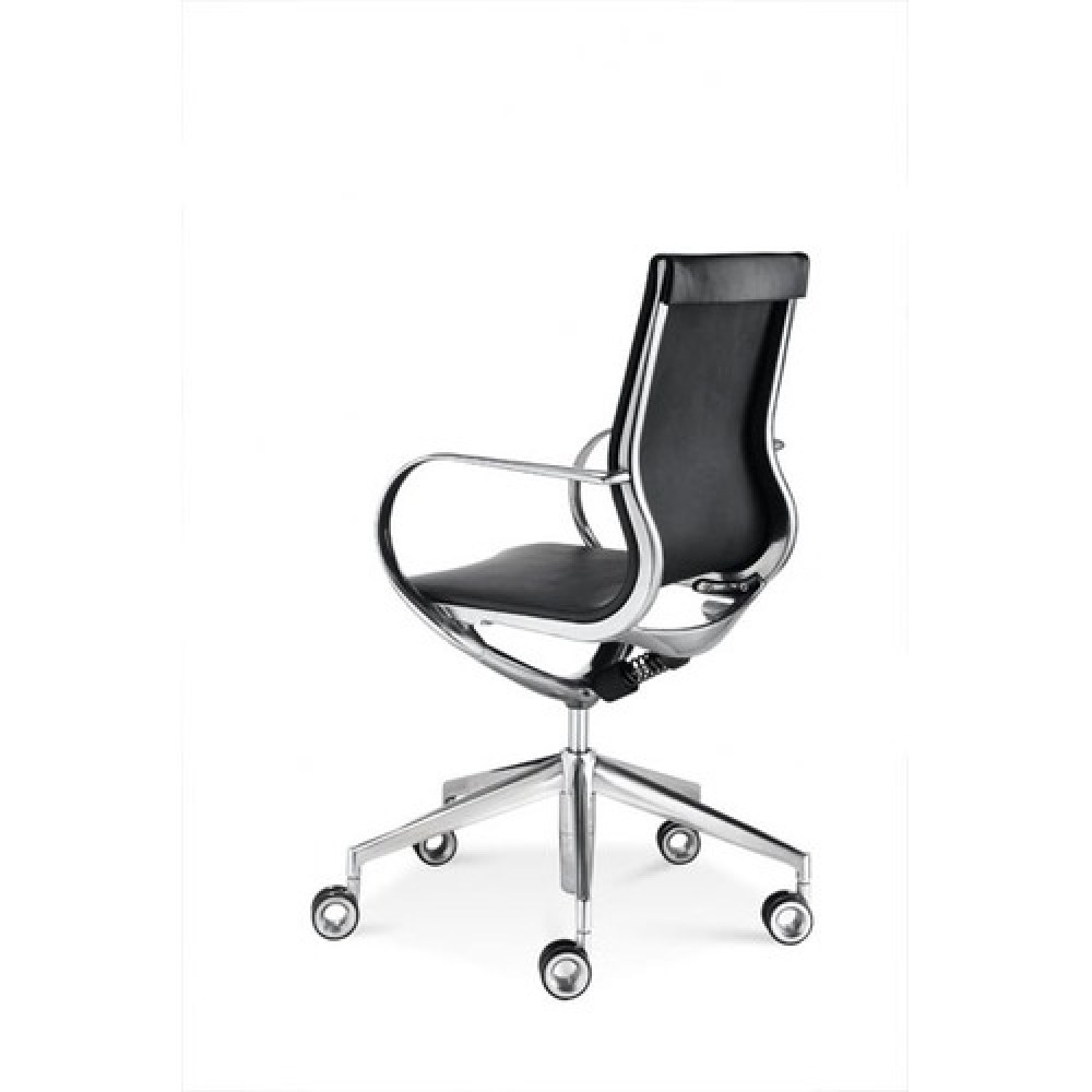 design b rostuhl aus aluminium mit echtleder bezogen. Black Bedroom Furniture Sets. Home Design Ideas