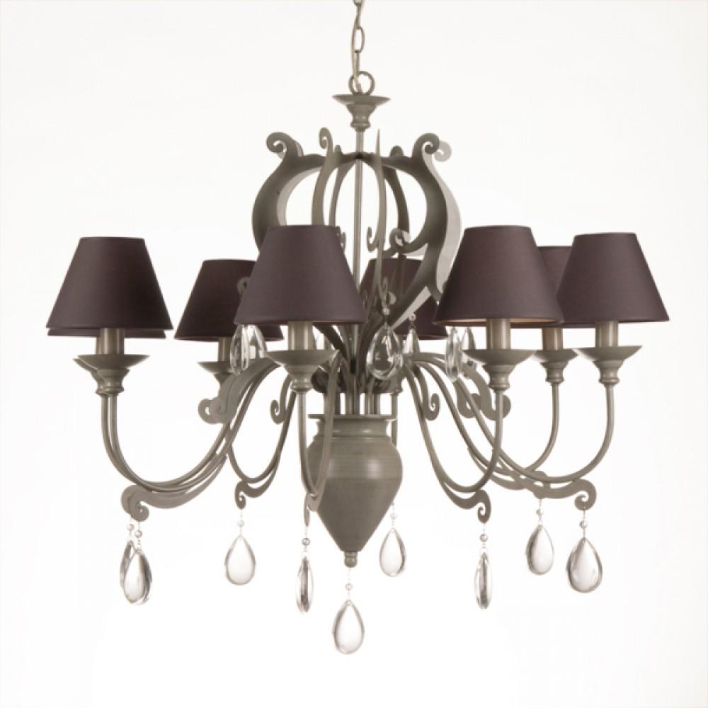 Kronleuchter 8 armig im landhausstil mit lampenschirmen for Kronleuchter mit lampenschirm