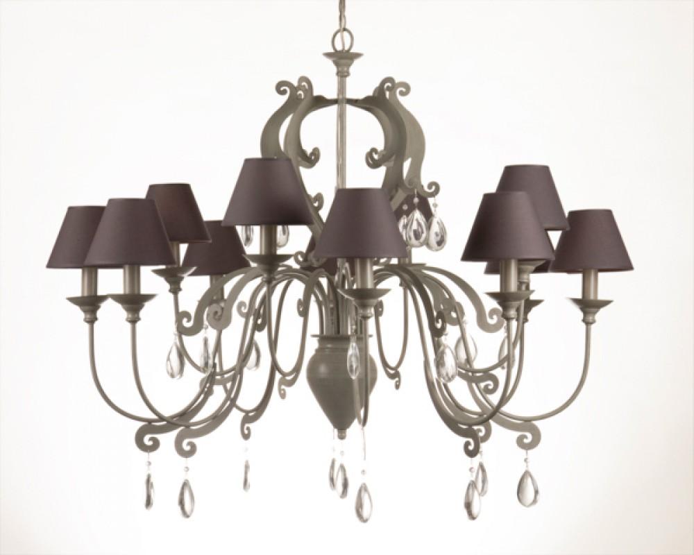 Lampenschirme Klein Kronleuchter ~ Kronleuchter armig im landhausstil farbe taupe grau