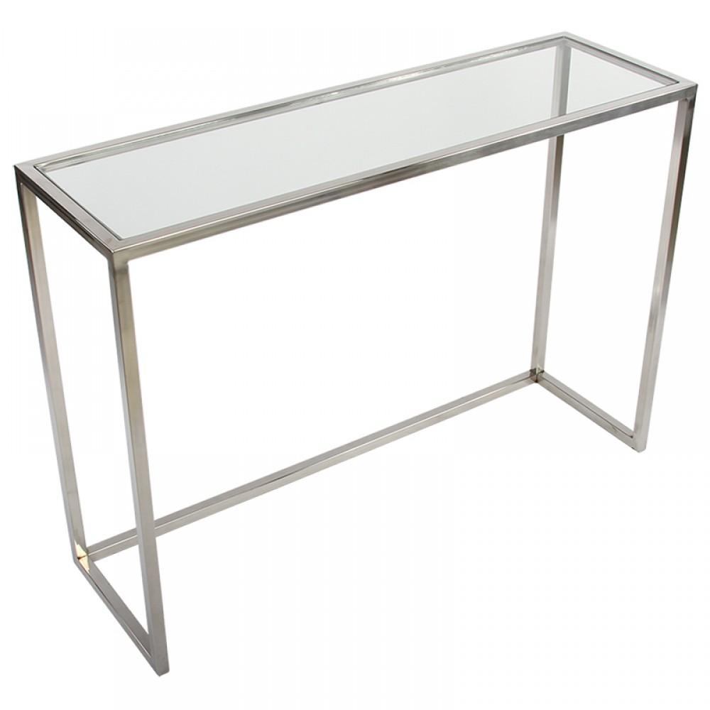 konsole glas silber wandkonsole silber metall wandtisch verchromt glas metall breite 100 cm. Black Bedroom Furniture Sets. Home Design Ideas