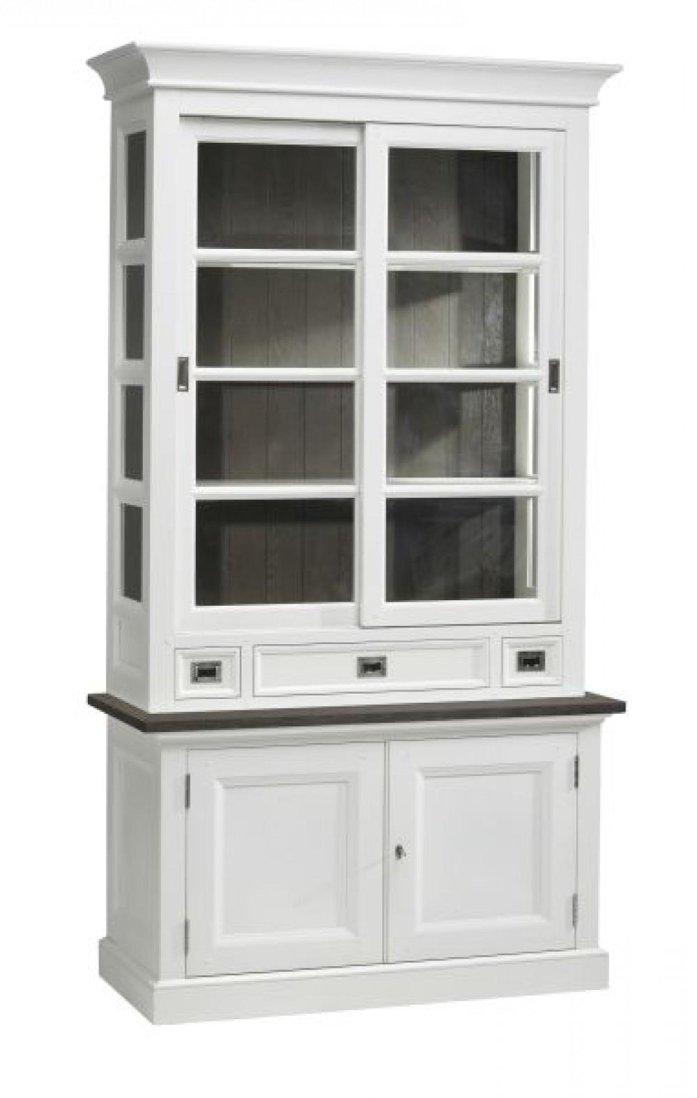 vitrine wei im landhausstil geschirrschrank wei braun breite 124 cm. Black Bedroom Furniture Sets. Home Design Ideas