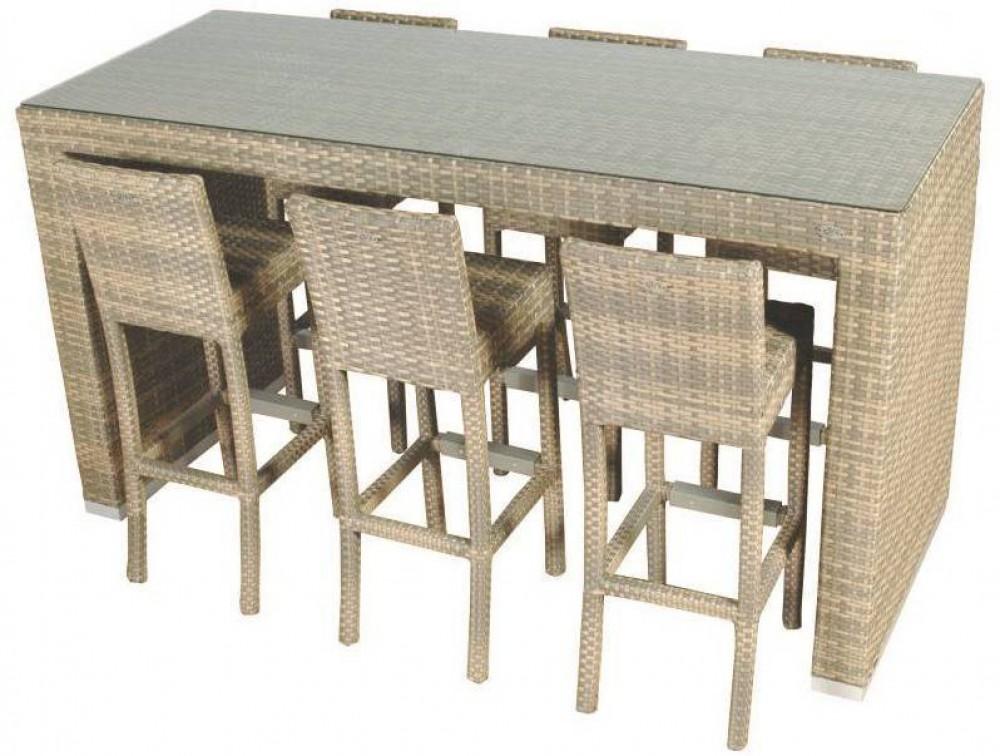 Garten Bartisch mit Barstühle Set Gartentisch mit sechs Stühlen ...