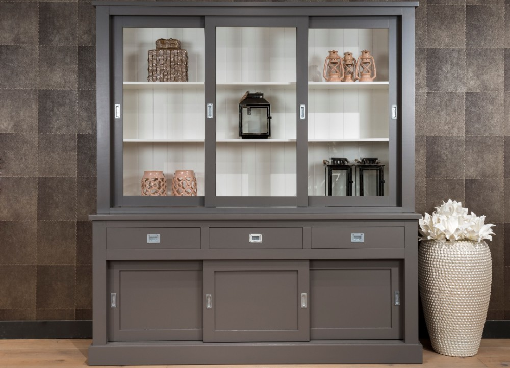 vitrinenschrank grau geschirrschrank grau wei wohnzimmerschrank im landhausstil ma e 220 x. Black Bedroom Furniture Sets. Home Design Ideas