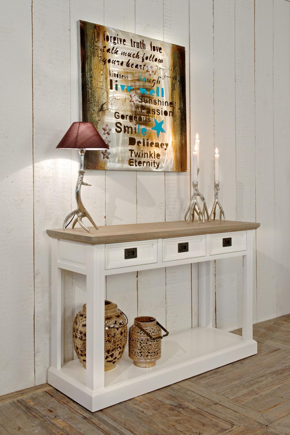 Sideboard wei im landhausstil wandtisch wei breite 122 cm for Gartenaccessoires landhausstil