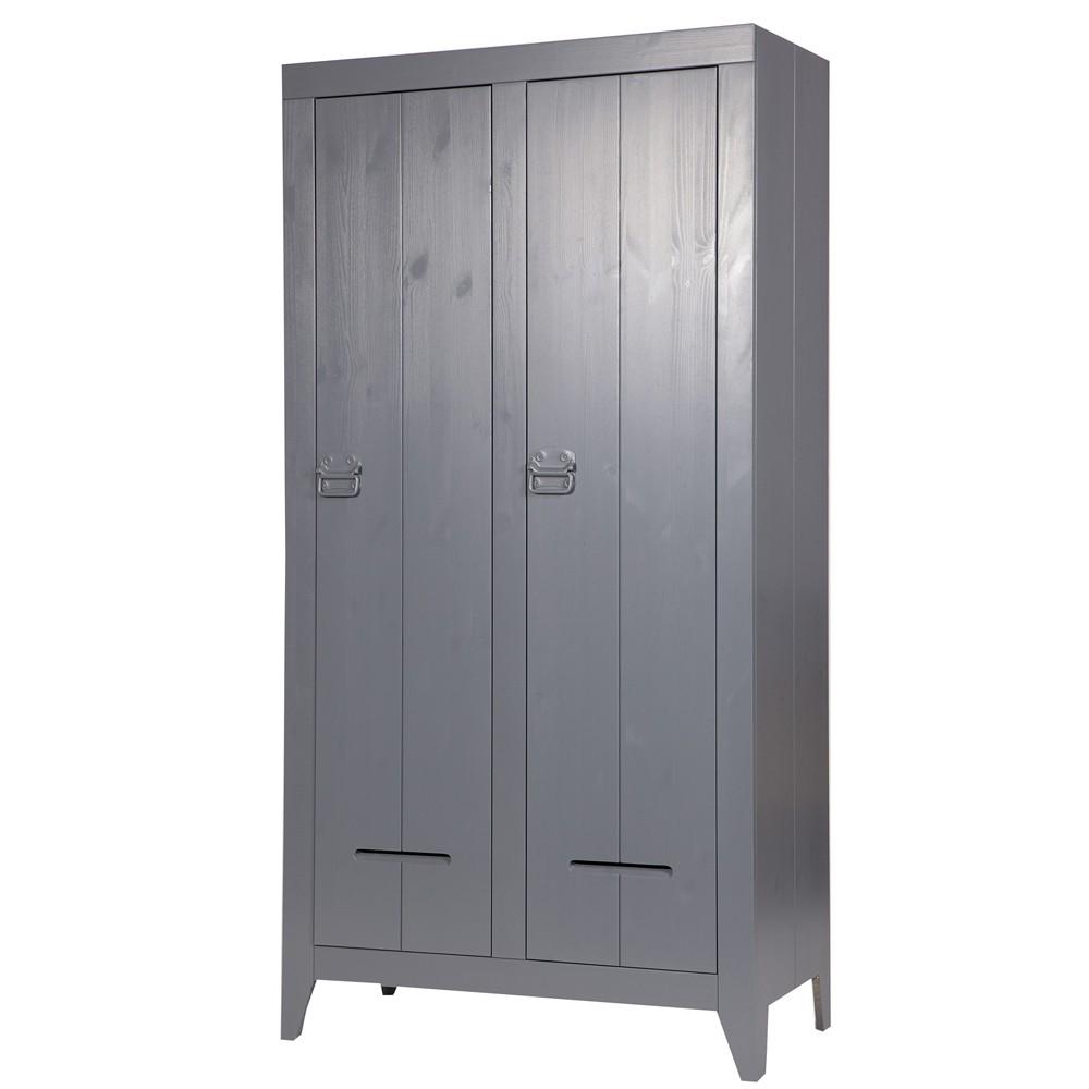 Kleiderschrank Farbe grau, Schrank 2 Türen, Kinderzimmerschrank grau ...