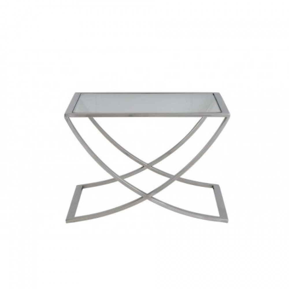 beistelltisch silber glas metall couchtisch glas verchromt ma e 60x60 cm. Black Bedroom Furniture Sets. Home Design Ideas