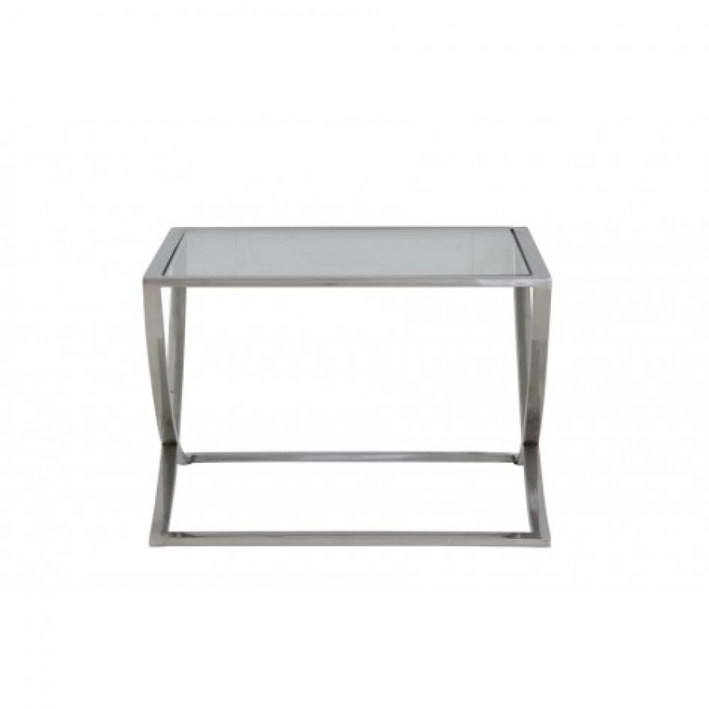 Beistelltisch silber glas metall couchtisch glas for Couchtisch 60x60 glas