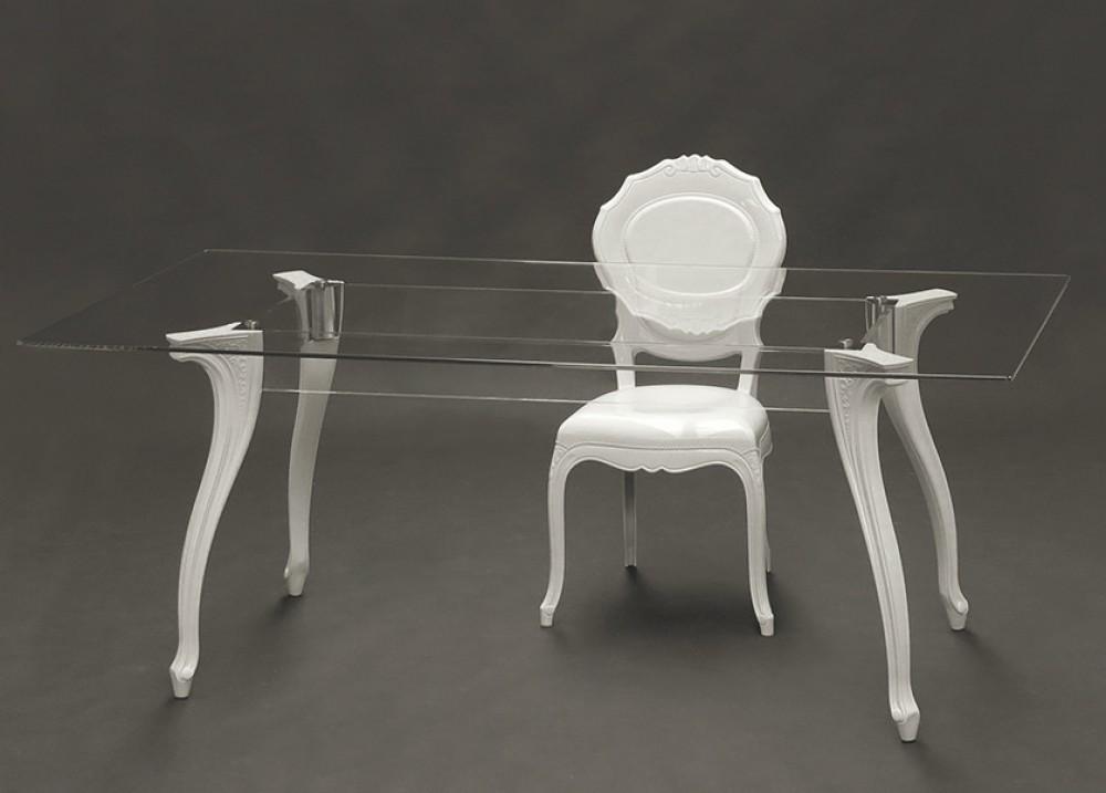 Barock Tisch Glastisch Barock,, Esstisch Barock, Tisch Tischplatte Glas,  Maße 180x90 Cm   Modern Style   Möbel