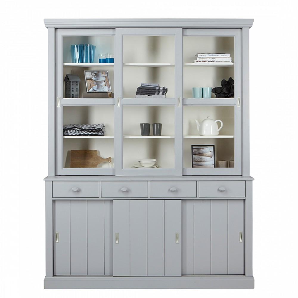 Geschirrschrank grau vitrine im landhausstil in farbe for Gartenaccessoires landhausstil