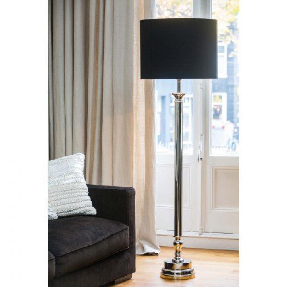 Geräumig Stehleuchte Silber Beste Wahl Stehlampe Mit Schwarzen Lampenschirm, , Höhe 155