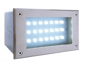 LED Outdoorwandeinbauleuchte aus Edelstahl, PVC, IP65
