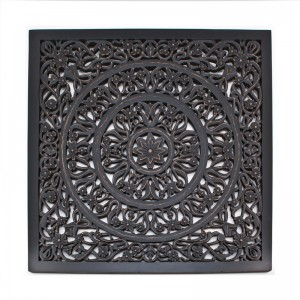 Wandpaneel Ornament geschnitzt  schwarz, Wandbild Bild-Ornament schwarz, Maße 120x120 cm