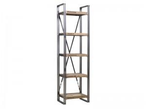 Regal im Industriedesign, Bücherregal aus Metall und Holz, Höhe 210 cm