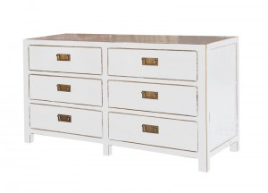 Sideboard aus Pappelholz, Messing in weiß im Asia Style