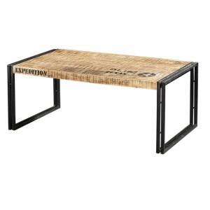 Couchtisch aus Akazienholz im Industriedesign, Breite 110 cm