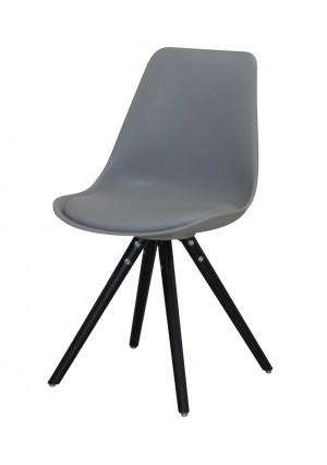 Stuhl gepolstert mit einem Gestell aus Massivholz, Stuhl Farbe Grau-Schwarz