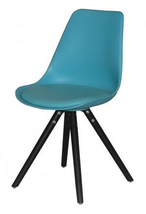 Stuhl gepolstert mit einem Gestell aus Massivholz, Stuhl Farbe Türkis