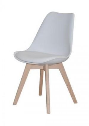 Stuhl gepolstert mit einem Gestell aus Massivholz, Farbe Weiß