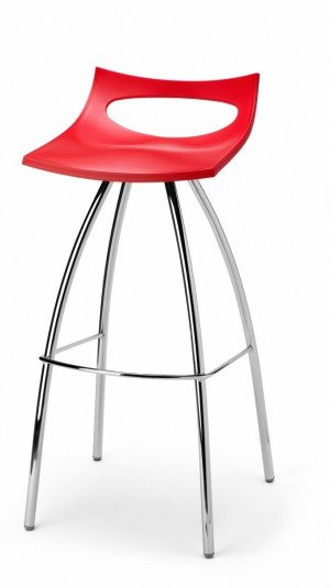 Design Barhocker, Farbe rot, Sitzhöhe 65 cm