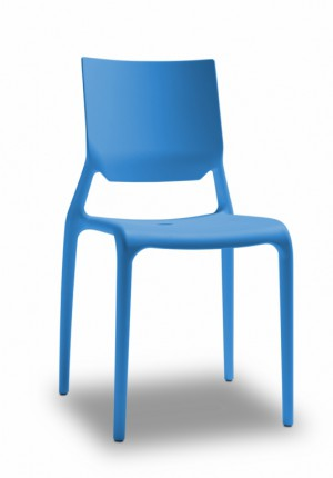 Design Stuhl Kunststoff blau