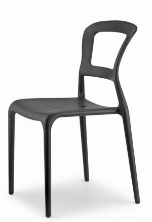 Gartenstuhl, Stuhl Kunststoff anthrazit Outdoor-Möbel