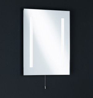 Beheizbarer Spiegel mit Leuchten, Badezimmer, Zugschalter weiß