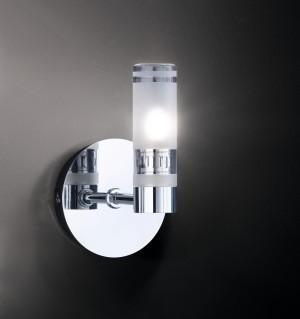 Design Wandleuchte, Badezimmer, aus Metall, Glas in chrom, satin, transparent, Höhe 17 cm