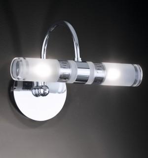 Design Wandleuchte, Badezimmer, aus Metall, Glas in chrom, satin, transparent, Länge 22 cm