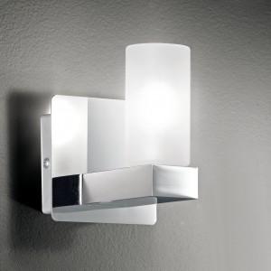 Design Wandleuchte, Badezimmer, aus Metall, Glas in chrom, weiß, Höhe 11 cm
