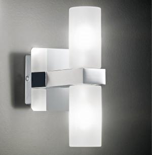 Design Wandleuchte, Badezimmer, aus Metall, Glas in chrom, weiß, Höhe 17 cm