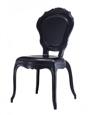Stuhl Barock schwarz aus Kunststoff