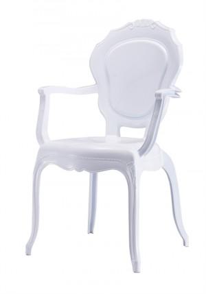 Stuhl mit Armlehne Barock weiß aus Kunststoff