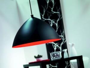Pendelleuchte Metall Textil schwarz rot