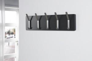 Wandgarderobe, Garderobe mit fünf Doppelhaken, Farbe anthrazit,  Breite 100 cm