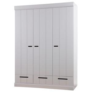 Kleiderschrank grau, Schrank grau aus Massivholz, Breite 140 cm