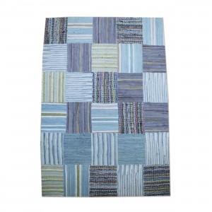 Flickenteppich Teppich,  Farbe Blau, Größe 110 x 150 cm