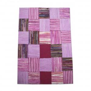 Flickenteppich Teppich,  Farbe Lila, Größe 110 x 150 cm