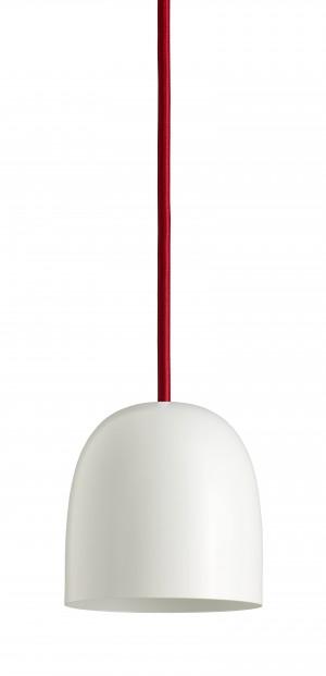Design Pendelleuchte, Farbe weiß, Klassiker, Schnur: rot. Ø 11,5