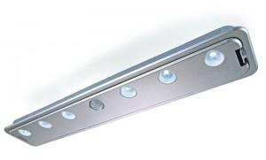 LED Möbelaufbauleuchte aus Aluminium, matt-silber + Bewegungsmelder