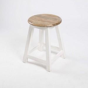 Hocker aus Massivholz,  Farbe Weiß-Braun, Sitzhöhe 50 cm