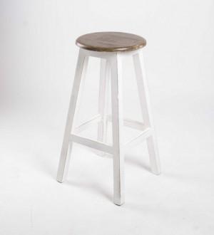 Barhocker aus Massivholz,  Farbe Weiß-Braun, Sitzhöhe 79 cm