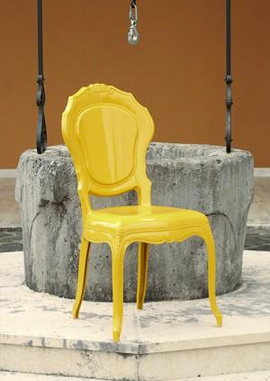 Stuhl gelb Barock aus Polycarbonat, Stuhl Barock gelb