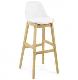 Barstuhl weiß, Tresenhocker schwarz Kunststoff Holz, Hocker weiß, Sitzhöhe 79 cm