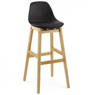 Barstuhl schwarz, Tresenhocker schwarz Kunststoff Holz, Hocker schwarz, Sitzhöhe 79 cm