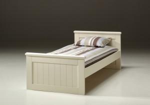 Weißes Einzelbett Hampton, Bett im Landhausstil in drei Farben, Breite 90 cm
